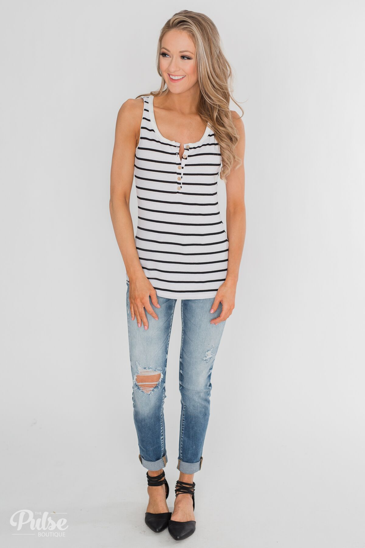 Always Need You 5-Button Henley Tank - Black & White Striped Outfit