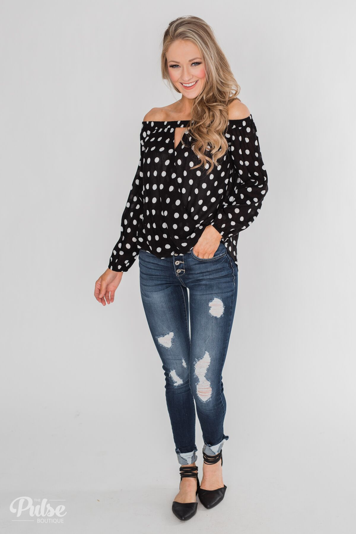 5b718644dc99a8 Wrapped Up In Polka Dots Off The Shoulder Blouse Outfit – The Pulse Boutique