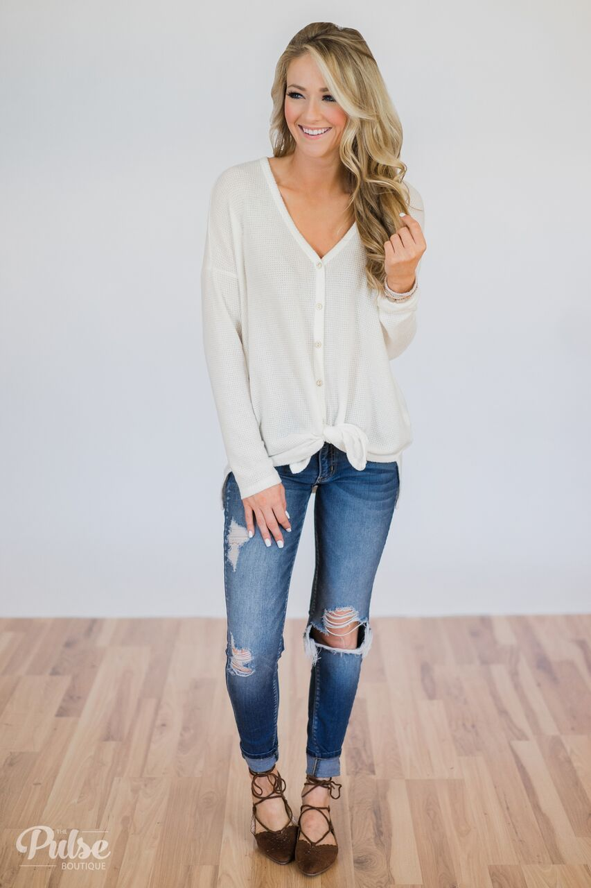 Back to You Thermal Button Top- Ivory Outfit