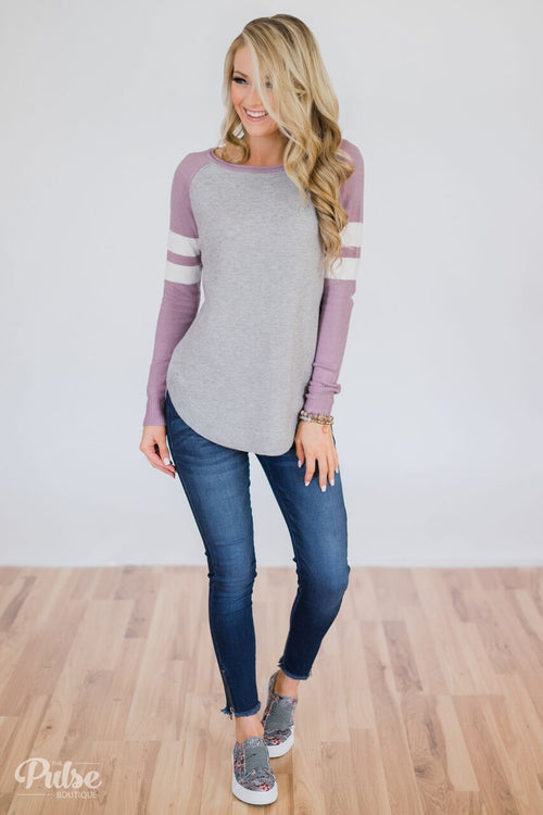 Comfy Color Block Pullover Sweater- Lavender Outifdt