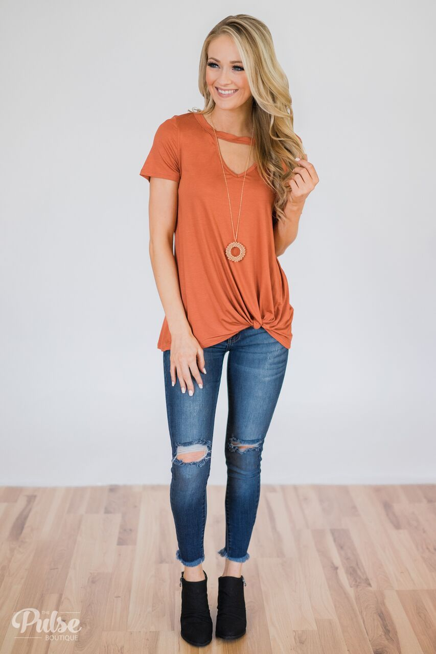 As If Short Sleeve Knot Top Outfit