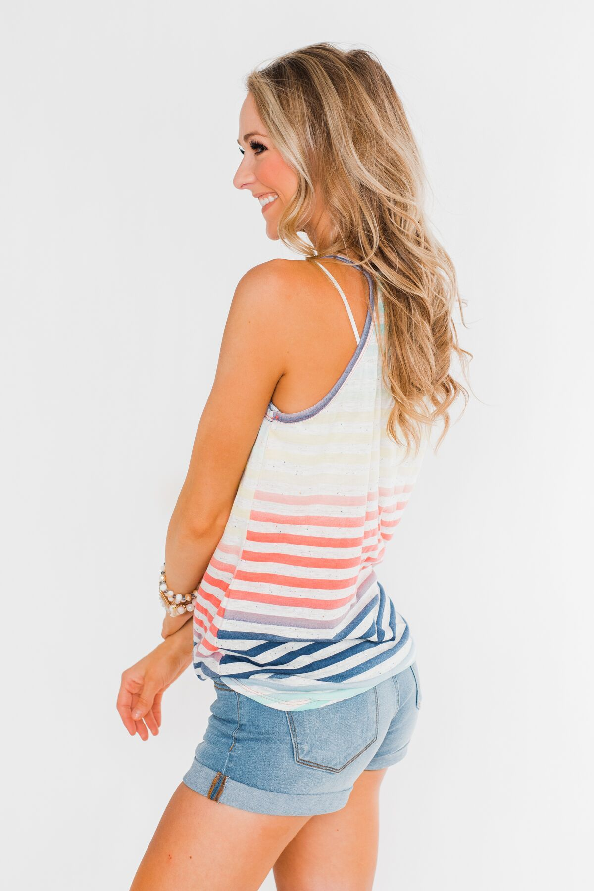 Laughing With You Tie Tank Top- Multi