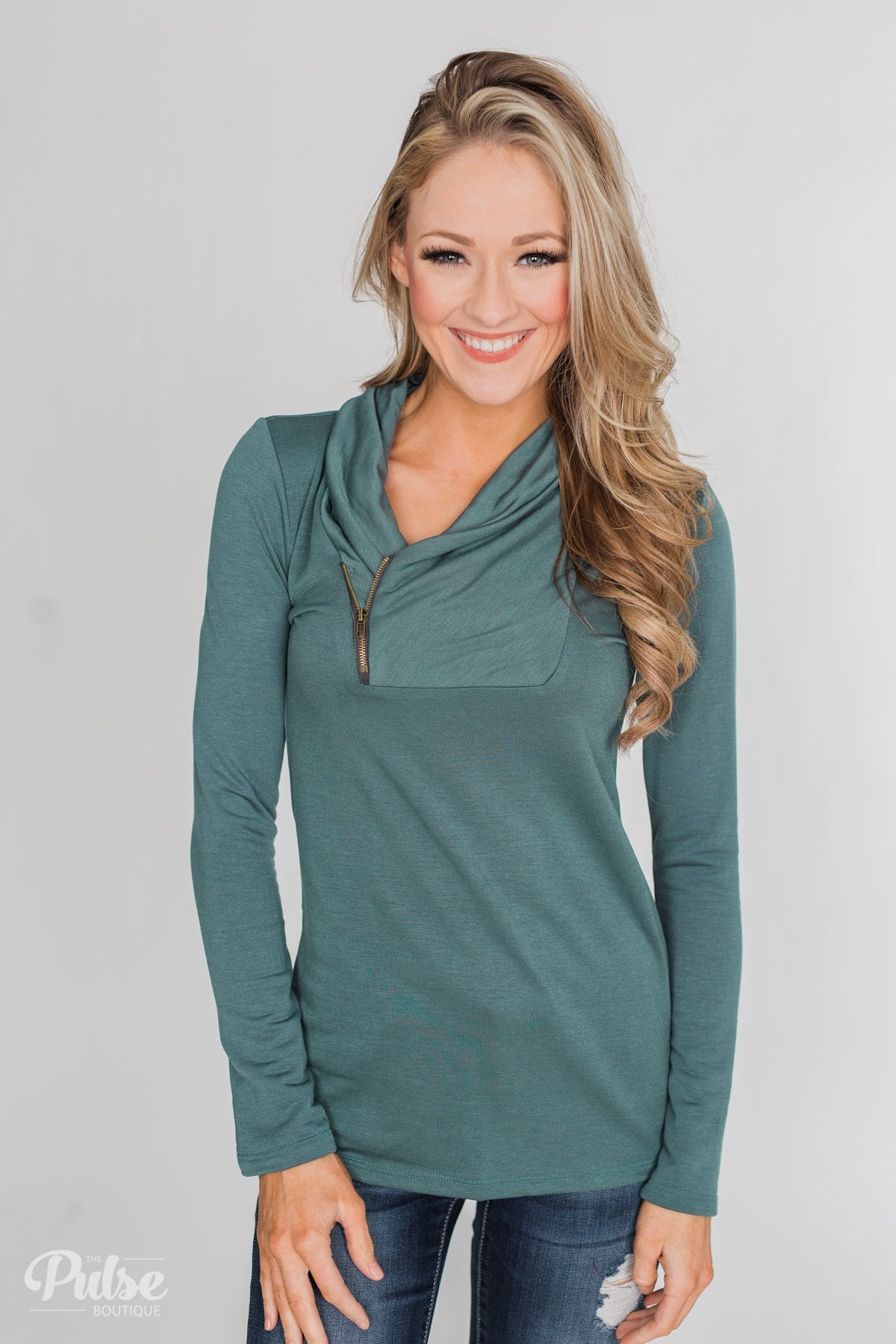 Give Me Time Zipper Pullover Top - Dark Teal