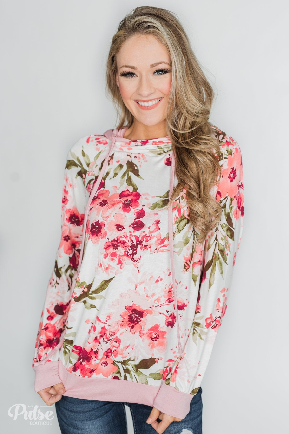 Floral Beauty Double Hood Top- Blush & Ivory