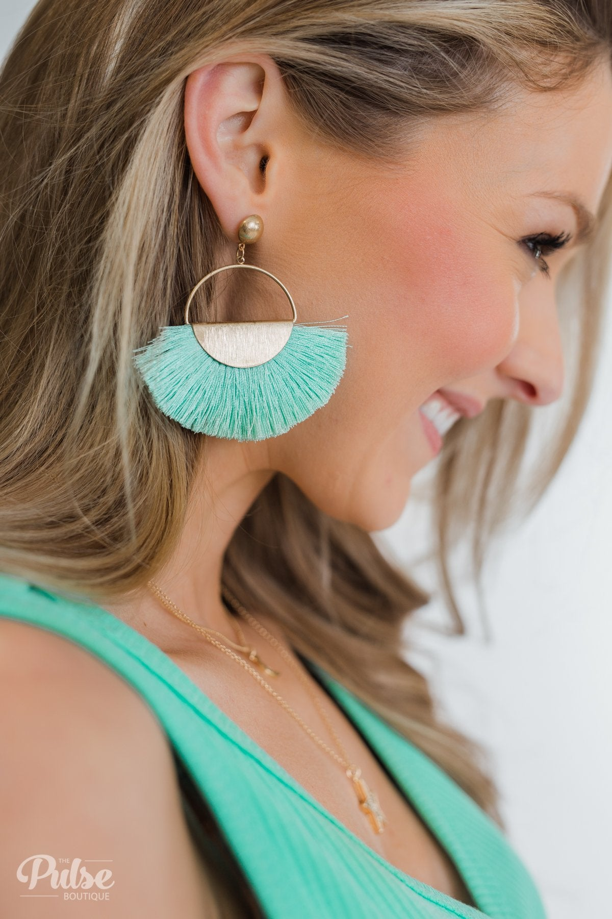 Flare Gold Hoop Earrings- Seafoam
