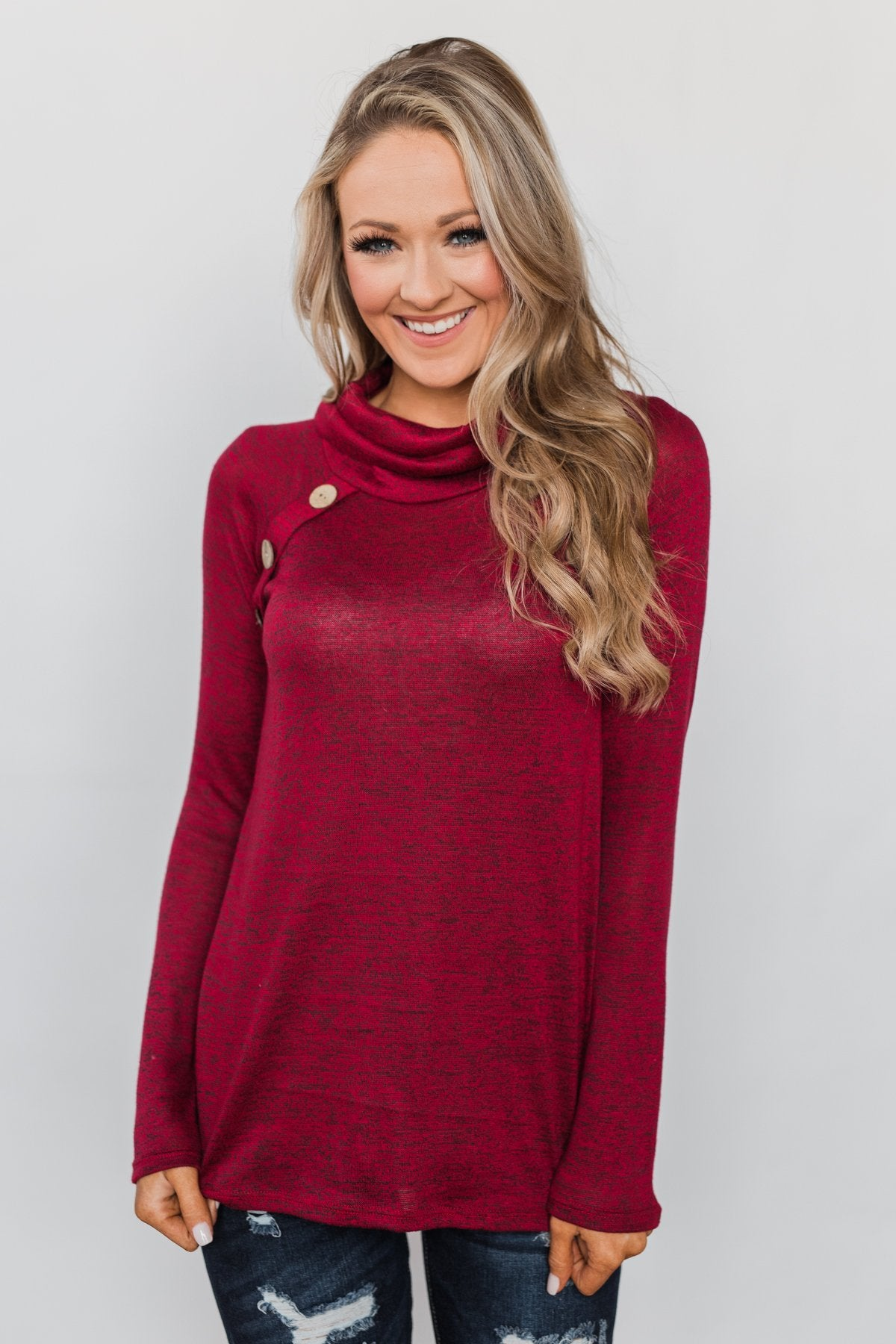 Charming Ways Cowl Neck Button Top- Red