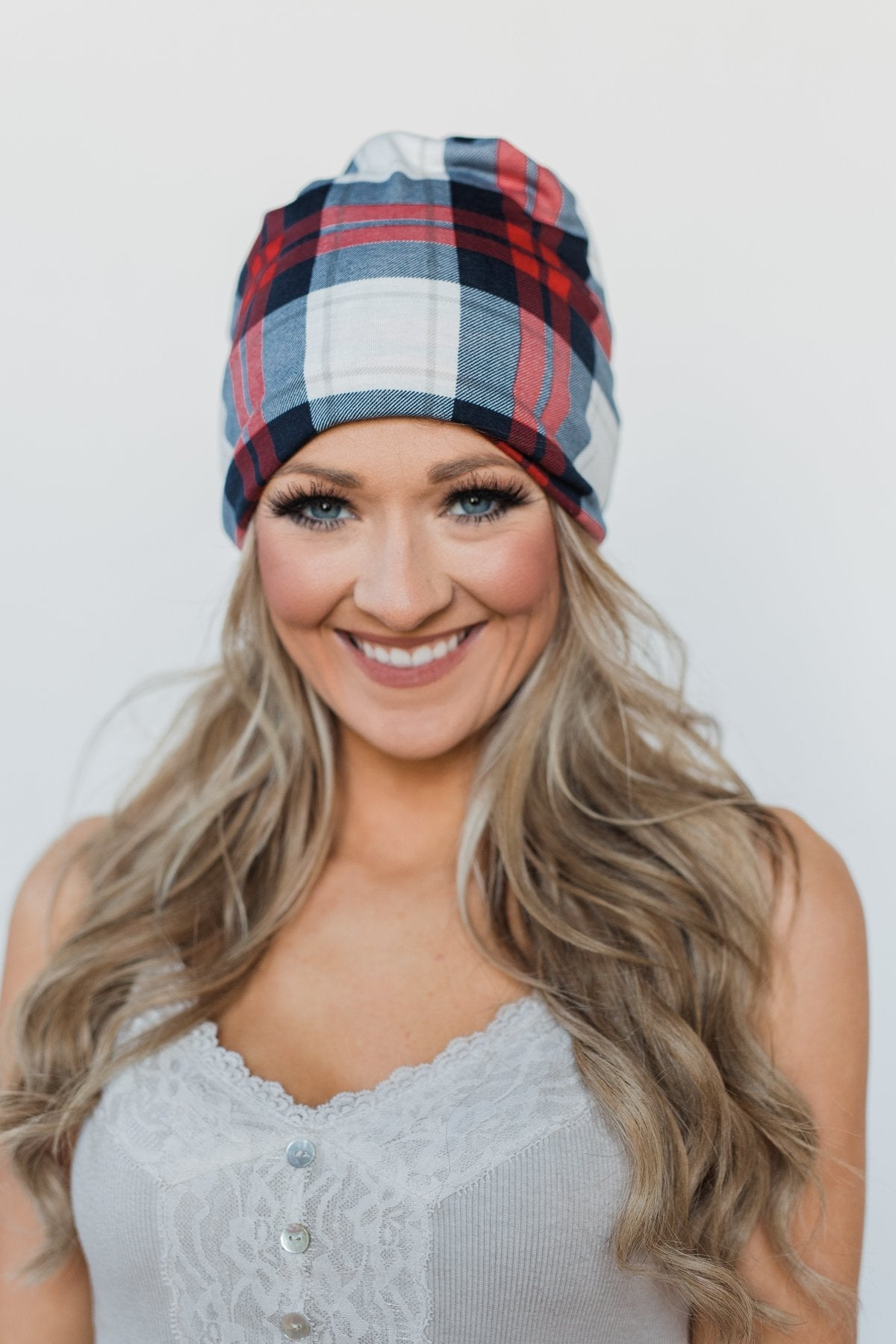 Peek-a-Boo Plaid Beanie- Red & Blue