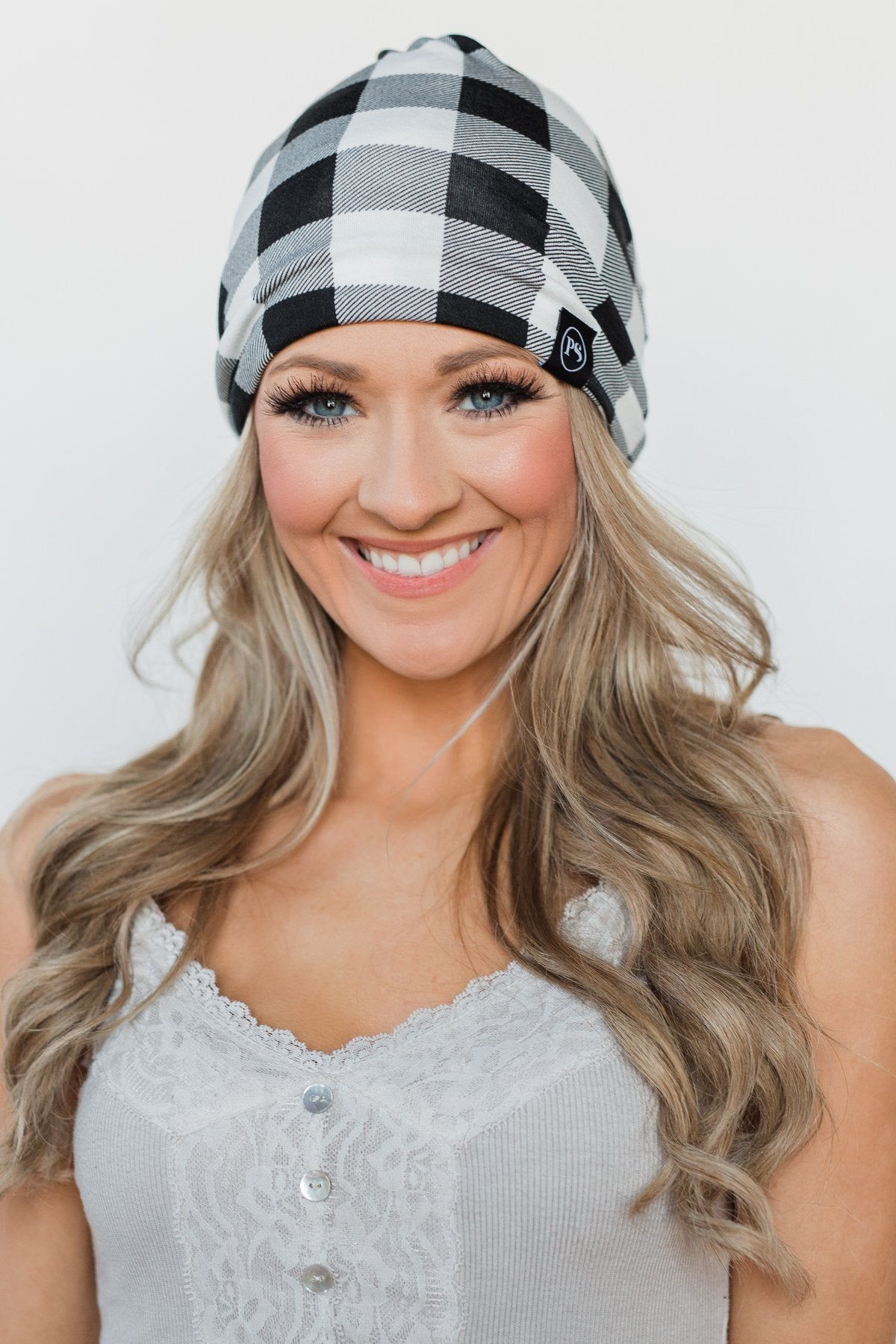Peek-a-Boo Beanie- Checkered Black & White