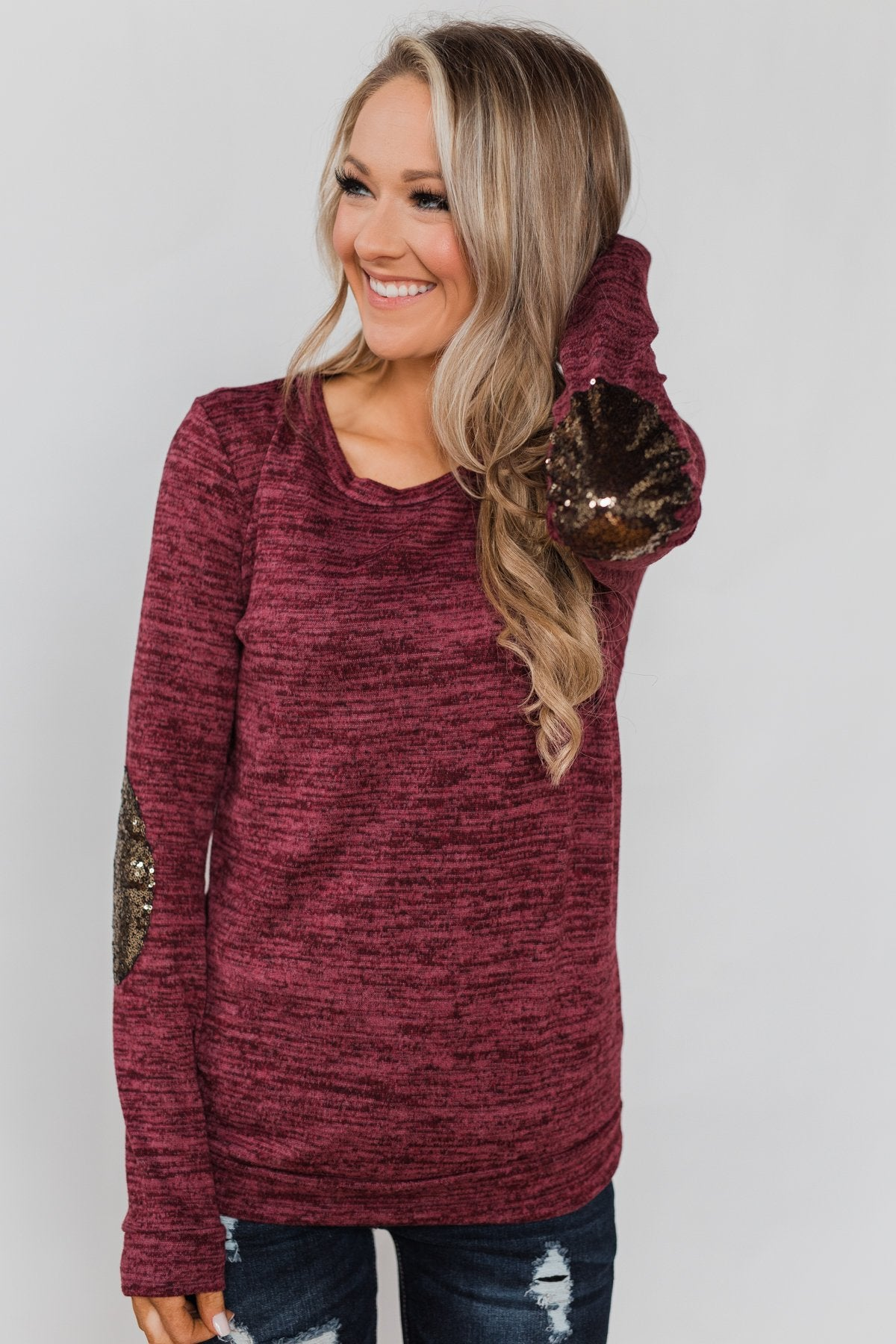 39627ff8607 Just Enough Sequin Elbow Patch Sweater- Plum – The Pulse Boutique