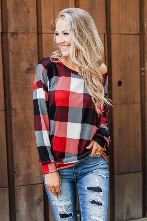 Yours Truly Checkered Off The Shoulder Top- Red