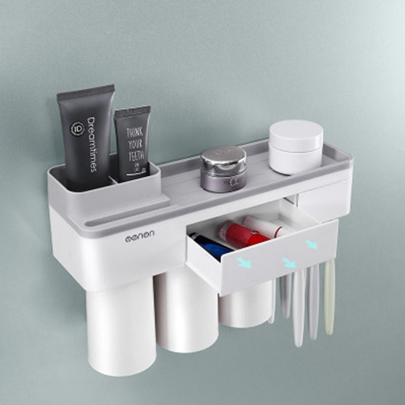 NuffBrands™ Wall Mount Automatic Toothbrush Holder/Toothpaste Dispenser Storage Rack