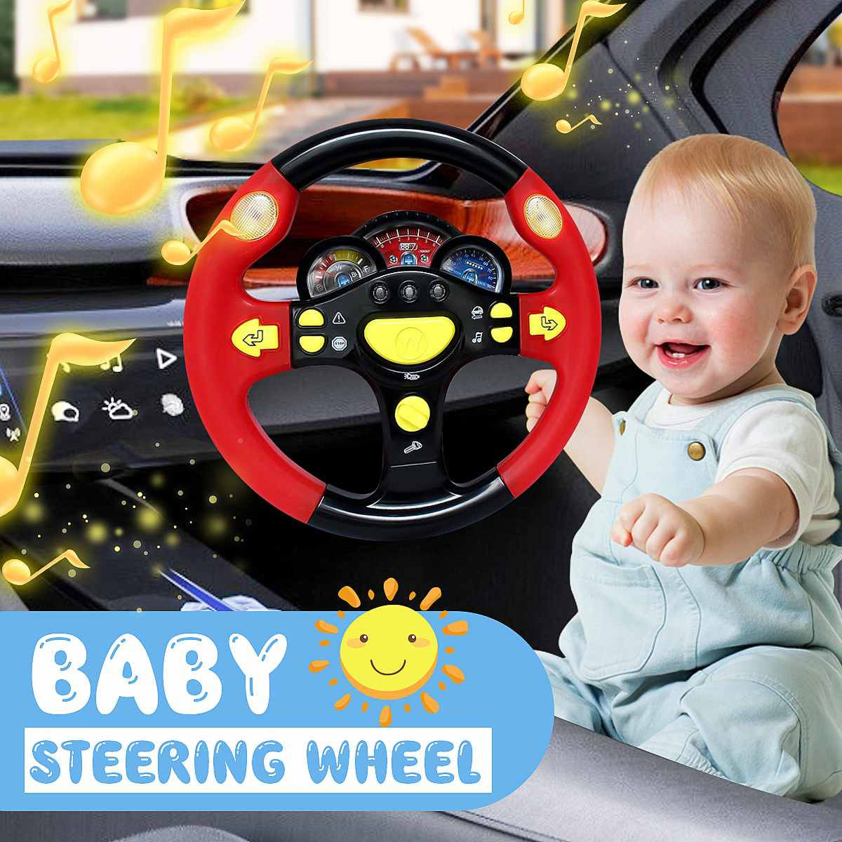 NuffBrands™ Children's Toy Simulation Steering Wheel with Light Copilots