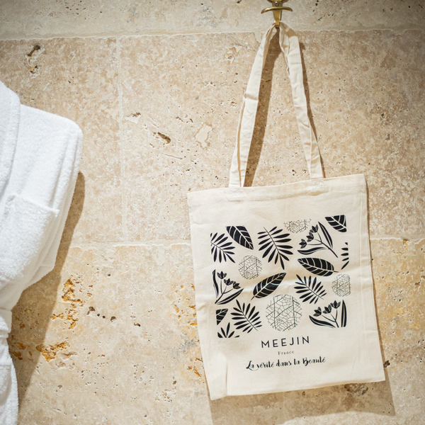TOTE BAG COTON NATUREL - MOTIF FLORAL