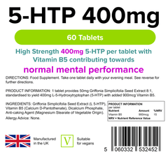 5 HTP 400mg Tablets (60 pack) - Authentic Vitamins