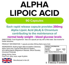 Alpha Lipoic Acid 250mg Capsules (90 pack) - Authentic Vitamins