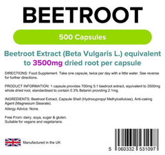 Beetroot 3500mg Capsules (500 pack) - Authentic Vitamins