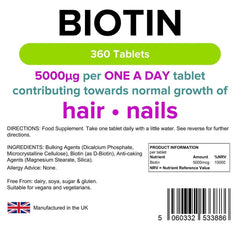 Biotin 5.0mg Tablets (360 pack) - Authentic Vitamins