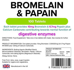 Bromelain & Papain 10-6.7 Tablets (100 pack) - Authentic Vitamins