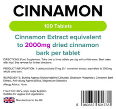 Cinnamon 2000mg Tablets (100 pack) - Authentic Vitamins