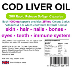 Cod Liver Oil 1000mg Capsules (360 pack) - Authentic Vitamins