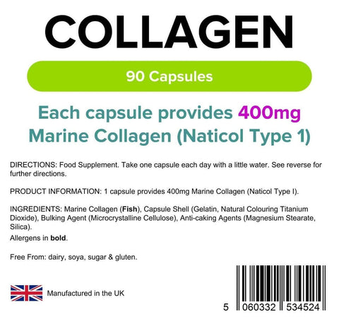 Collagen (Marine) 400mg Capsules (90 pack) - Authentic Vitamins