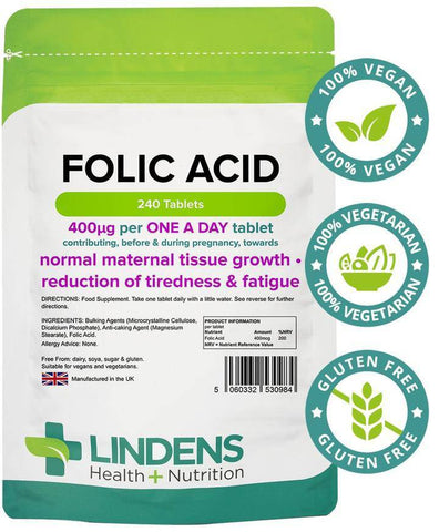 Folic Acid 400mcg Tablets (240 pack) - Authentic Vitamins