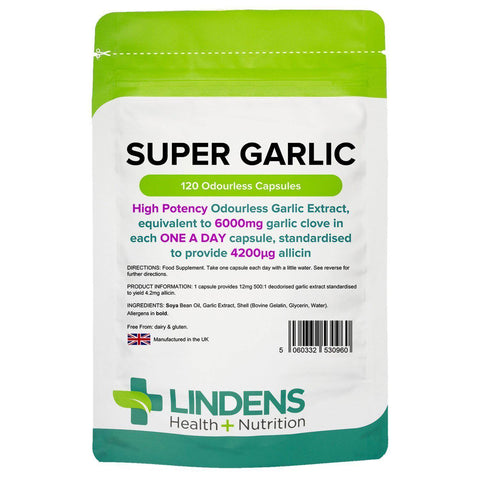 Garlic 6000mg Odourless Capsules Super Garlic (120 pack) - Authentic Vitamins
