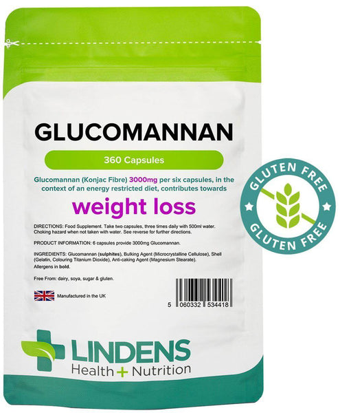 Glucomannan (Konjac Fibre) 500mg Capsules (360 pack) - Authentic Vitamins