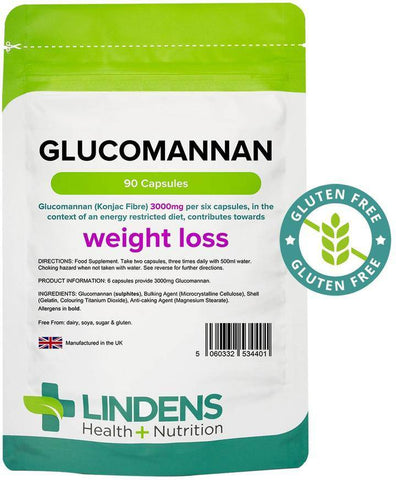 Glucomannan (Konjac Fibre) 500mg Capsules (90 pack) - Authentic Vitamins