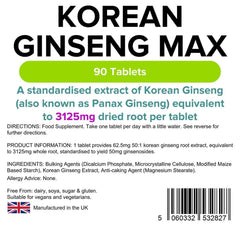 Korean Ginseng Max 3125mg Tablets (90 pack) - Authentic Vitamins