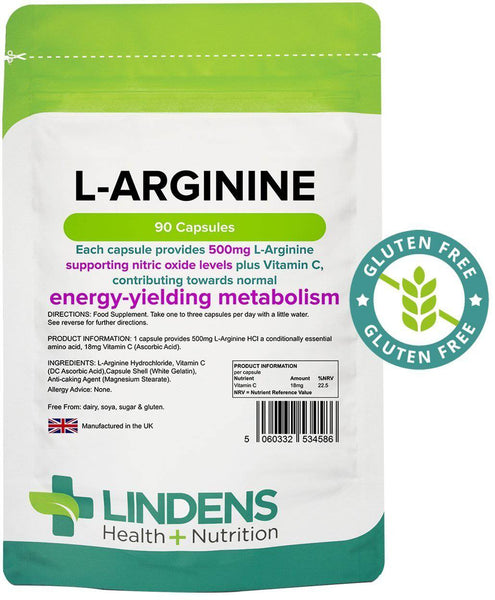 L-Arginine 500mg Capsules (90 pack) - Authentic Vitamins