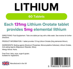 Lithium 5mg 60 Tablets - Authentic Vitamins