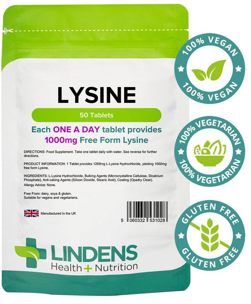 Lysine 1000mg Tablets (50 pack) - Authentic Vitamins