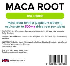 Maca Root 500mg Tablets (100 pack) - Authentic Vitamins