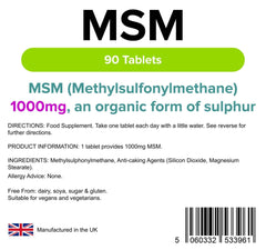 MSM 1000mg Tablets (90 pack) - Authentic Vitamins