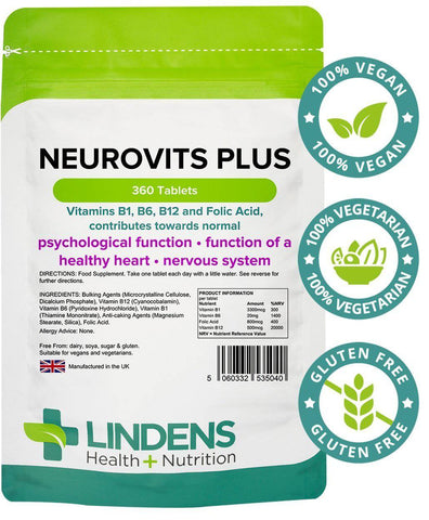 Neurovits Plus (B12 500mg + B1, B6, Folic Acid) Tablets (360 pack) - Authentic Vitamins