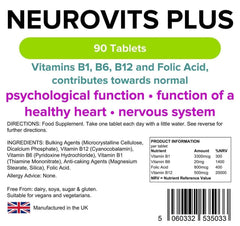 Neurovits Plus (B12 500mg + B1, B6, Folic Acid) Tablets (90 pack) - Authentic Vitamins