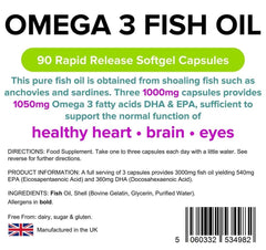 Omega 3 Fish Oil (30% DHA-EPA) 1000mg capsules (90 pack) - Authentic Vitamins