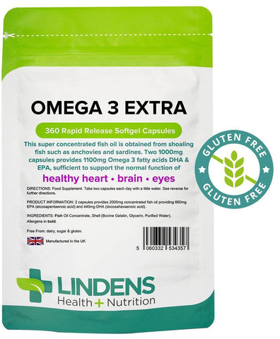 Omega 3 Fish Oil Extra (55% DHA-EPA) 1000mg capsules (360 pack) - Authentic Vitamins