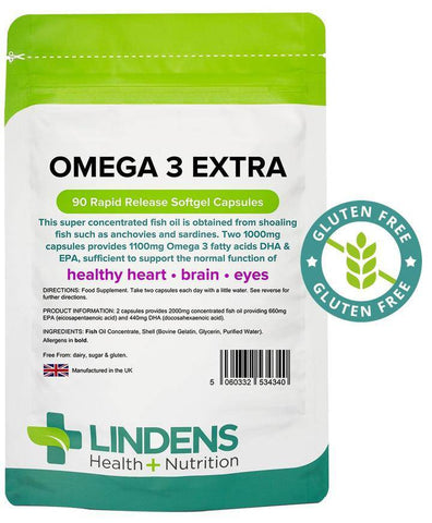 Omega 3 Fish Oil Extra (55% DHA-EPA) 1000mg capsules (90 pack) - Authentic Vitamins
