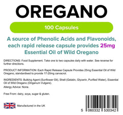 Oregano Oil 25mg Capsules (100 pack) - Authentic Vitamins
