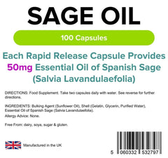 Sage (Essential Oil Caps 50mg) (100 pack) - Authentic Vitamins