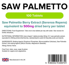 Saw Palmetto 500mg Tablets (100 pack) - Authentic Vitamins