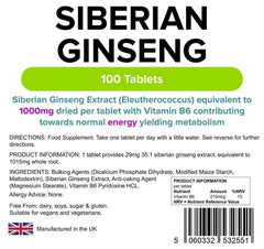 Siberian Ginseng 1000mg Tablets (100 pack) - Authentic Vitamins