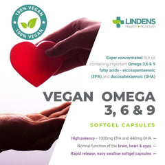 Vegan Omega 3 6 & 9 1000mg Capsules (90 Capsules) - Authentic Vitamins