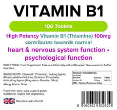 Vitamin B1 100mg Tablets (100 pack) - Authentic Vitamins