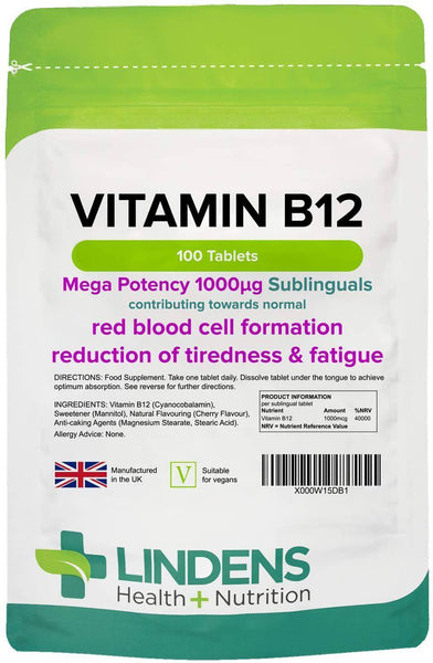 Vitamin B12 1000mcg Sublingual Tablets (100 pack) - Authentic Vitamins