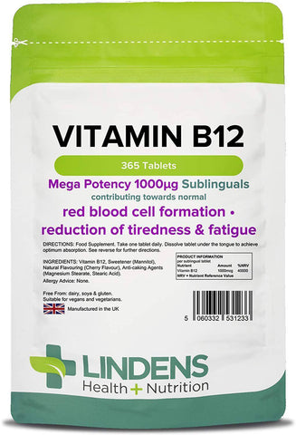 Vitamin B12 1000mcg Sublingual Tablets (365 pack) - Authentic Vitamins