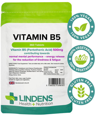 Vitamin B5 500mg Tablets (360 pack) - Authentic Vitamins