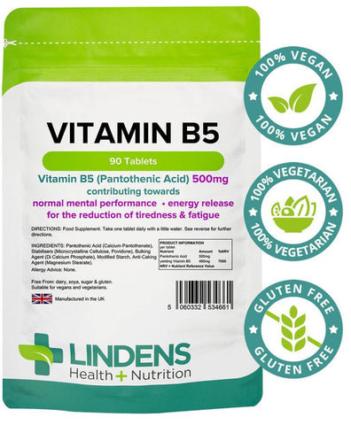 Vitamin B5 500mg Tablets (90 pack) - Authentic Vitamins